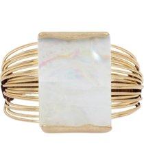 robert lee morris soho gold-tone geometric multi-row statement cuff bracelet