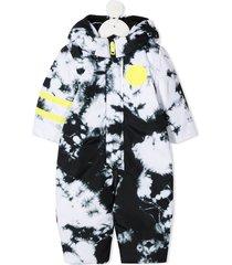 diesel kids tie-dye print padded jumpsuit - white