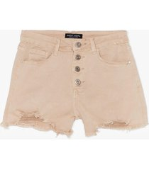 womens fray you will distressed denim shorts - stone