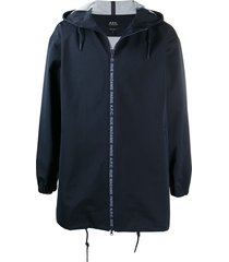 a.p.c. philip hooded mid-length parka - blue