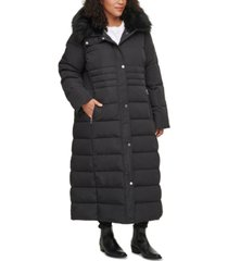 calvin klein plus size faux-fur-trim hooded maxi puffer coat