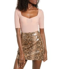 women's leith sweetheart neck bodysuit, size x-large - pink