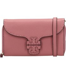 tory burch mcgraw wallet clutch in rose-pink leather