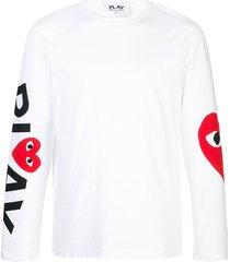 comme des garçons play almond-eye long-sleeved t-shirt - white