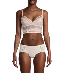 ava & aiden women's mesh & lace bralette - blush - size m