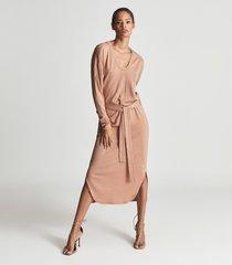 reiss cleo - wool blend fine jersey dress in blush, womens, size xl