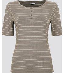 ribbad t-shirt med knappar - kakibrun