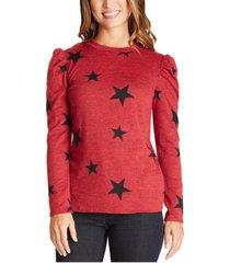 bcx juniors' puffed-shoulder star-print sweater