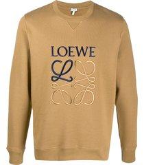 loewe anagram-embroidered sweatshirt - neutrals