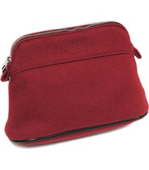 hermes bolide trousse de voyage wool pouch red sz: m