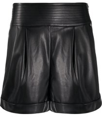 twin-set high waisted pleated shorts - black