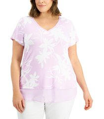 jm collection plus size printed sheer-trim t-shirt, created for macy's