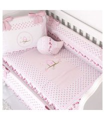 duvet edredom de berço menina patchwork rosa gráo de gente rosa