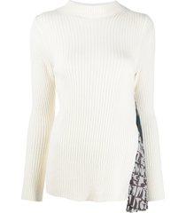 sacai godet-insert ribbed sweater - neutrals