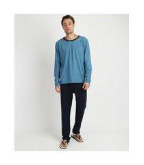 pijama masculino camiseta estampada listrada manga longa gola careca azul