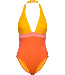 colour block plunge swimsuit badpak badkleding geel french connection