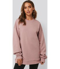 na-kd basic oversized crewneck sweatshirt - pink