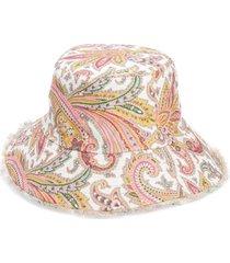 zimmermann reversible linen bucket hat in ivory paisley at nordstrom