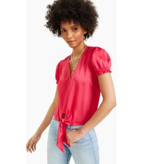 bar iii puff-sleeve tie-front top, created for macy's