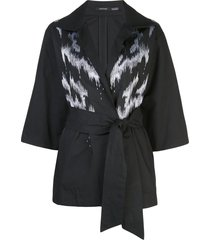 natori taffeta embroidered belted jacket - black