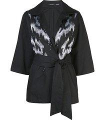 natori taffeta embroidered belted jacket - black