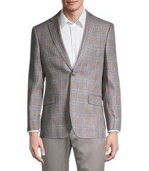 tommy hilfiger men's regular-fit linen windowpane blazer - taupe - size 38 s