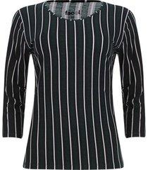 camiseta manga 3/4 rayas verticales color verde, talla s
