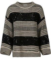 brunello cucinelli bead embellished stripe patterned sweater