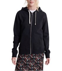 superdry women's organic cotton standard label loopback zip hoodie