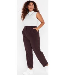womens button it please plus tapered pants - chocolate