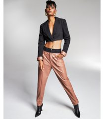 zerina akers for bar iii double-waistband faux-leather pants, created for macy's