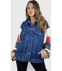chaqueta mujer jeans oversize azul enigmática boutique