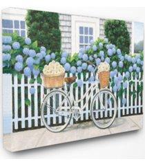 "stupell industries cape cod daisy bike canvas wall art, 16"" x 20"""