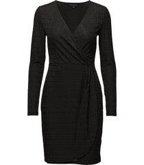 linear jazquard ls vnk dress dresses wrap dresses svart french connection