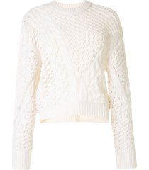 3.1 phillip lim cable knit crew neck jumper - white