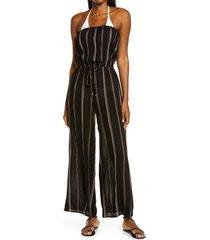 women's elan stripe swim cover-up jumpsuit, size x-large - black