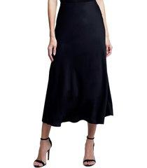 women's l'agence clarisa bias cut satin skirt, size large - black