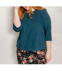 ori women's's plus size 3/4 sleeve super soft crop tee