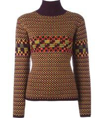 jean paul gaultier pre-owned checked embellished turtleneck jumper -