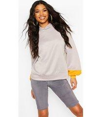 brooklyn contrast stripe oversized sweat hoodie, grey