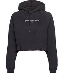 inst round ck hoodie hoodie trui zwart calvin klein jeans