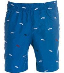 shorts areia branca menino resort bone fish azul royal