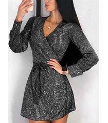 black glitter v-neck mini dress
