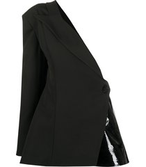loulou one-shoulder leather-panelled blazer - black