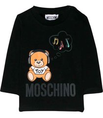 moschino black cotton printed teddy bear sweatshirt