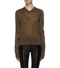 asymmetric seam cashmere blend v-neck sweater