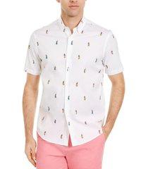 club room men's hula girl print stretch short sleeve shirt, created for macy's