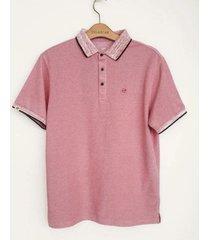 camiseta polo hombre cuello jaspeado delascar - rosado cp086