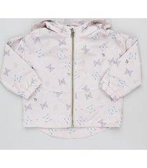 jaqueta corta vento infantil estampada de borboletas rosê