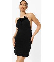 gebreide mini jurk met geplooide hals en open rug, black